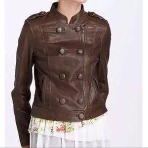 Anthropologie Elevenses Brown Leather Jacket